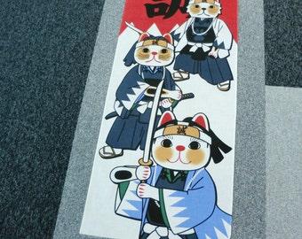 Samurai Japanese tenugui cat cotton fabric Maneki neko lucky cat, kawaii fabric, cotton tea towel, kimono yukata  hand made silk sreen
