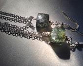 moss aquamarine gemstone earrings sterling silver DEEP SEA
