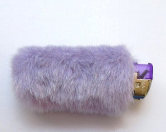 Girly Bic Lighter Case, Pastel Grunge Lighter Cover, Fuzzy Lighter, Cute Lighters, Smoking Accessories, Lilac Fur, Pastel Goth Purple