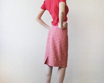 Red white checkered high waist pencil skirt