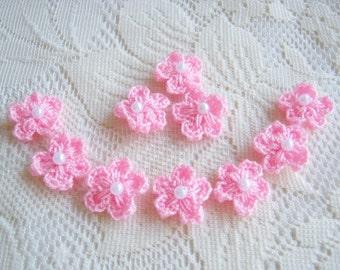 Crochet Handmade Cherry Blossom Pink With Snow Pollen, Crochet flower, pillow decoration, dress decoration, card, wedding supply  50pcs.