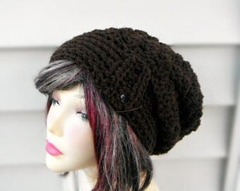Crochet Womens Hat Slouchy Hat Brown Beanie With Button