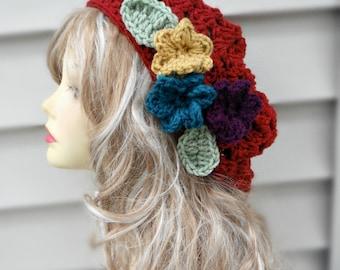Chunky Crochet Hat Womens Crochet Hat Crochet Beanie Hat Winter Hat Women Hair Accessories Womens Accessories Red Crochet Hat Flower Hat