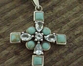 Turquoise & Aquamarine Elegant Cross   Coptic Shape Cross