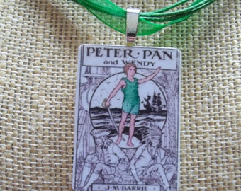Alice, Peter Pan and Snow White vintage images handcrafted Game Piece Necklace on voile necklace - Take your pick