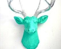 Faux Taxidermy Deer Head wall mount wall hanging home decor in aqua and silver: Deerman the Deer Head