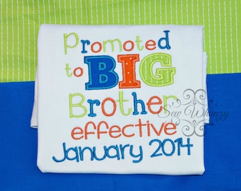 Big brother Applique Shirt- promoted to Big brother shirt- sibling shirt- Pregnancy Announcement Shirt- Brother- New Baby- Birth