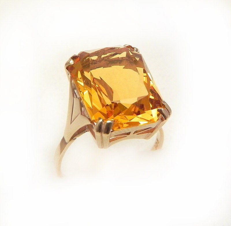 deco golden citrine ring stunning 1940s 16ct citrine