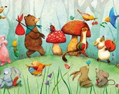 Animals Print Children Decor Nursery Art Multicolored Forest Woodland