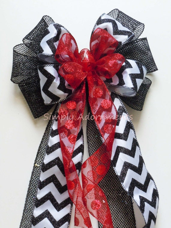 Red Black Wedding Pew Bow Chevron and Polka dots Halloween Wreath Bow Red and Black Wedding Bow Ceremony Aisle Bow Birthday Party Decor