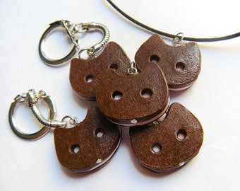 Kawaii food: ice cream sandwich kitty -inspired Cookie Cat- ice cream sandwich keychain or necklace
