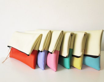 Set of  Bridesmaids clutches, Bridesmaids clutch set, clutch purse, fold over purse, cream, Pastels, Gift, Wedding gift