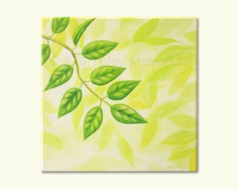 "Green Leaf Art, Original Spring Leaves Painting, Bright Green Nature Decor, Acrylic Art on Canvas 10"" X 10"""