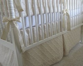 """Neutral Baby Bedding Set:  2-pieces, crib bumper, crib skirt,  """"Oatmeal and Cream"""" cotton luxe collection, Custom Made to Order"""
