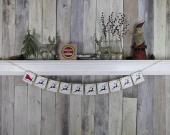 CHRISTMAS DECORATION - Reindeer and Sleigh banner - Christmas Photo Prop - Christmas Sign - Christmas Bunting - Christmas Garland