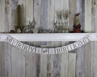 CHRISTMAS DECORATION Merry & Bright Banner - Christmas Photo Prop - Christmas Sign - Christmas Bunting - Christmas Garland