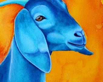 Nubian Goat Art Blue Goat Painting 5x7 Print 8x10 Print Watercolor Painting Farm Animal Art Barnyard Animals Farm Art Fine Art Print