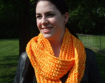 Infinity Scarf, Chunky, Crochet, Orange and Yellow, Two-Tone, women's circle scarf