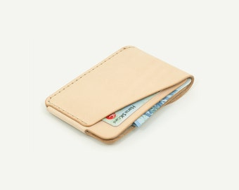 DHK GOODS 3-Pocket Card Wallet  - Natural vegetable tanned leather. Handmade leather card holder