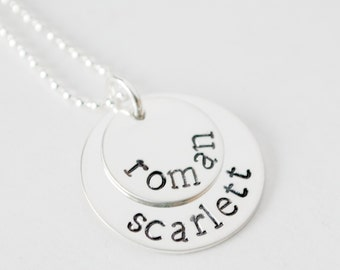 Gift for New Mom Personalized Necklace - Custom Mom Stacked Necklace Mother Jewelry Two Names Hand Stamped Sterling Silver