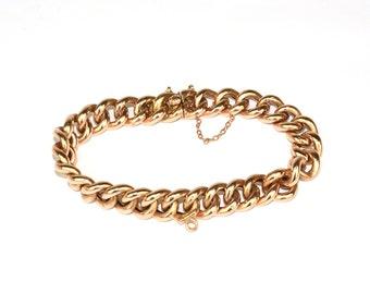 Antique Bracelet - Antique 1920's 14k Rose Gold Link Bracelet