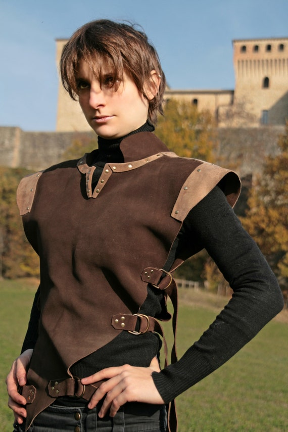 MADE TO ORDER - ranger unisex brown leather armor pagan medieval druid rogue larp fantasy renaissance