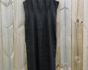 S M Small Medium Vintage 80s 90s Santa Fe by Jim Trembley Black LBD Spring Summer Gold Detail Linen Made in USA Dress