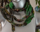 "Handspun Dreadlock Felted ONe of A Kind Scarf Necklace ""Dragon's Hoard"""