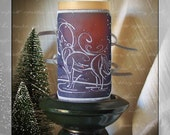 The Winter Wolf Embroidered Candle Wrap For LED Flameless Pillar Candles. Will Light Up Your Winter Nights.
