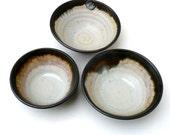 Black And Cream/Pink Handmade Ceramic  Bowl Set