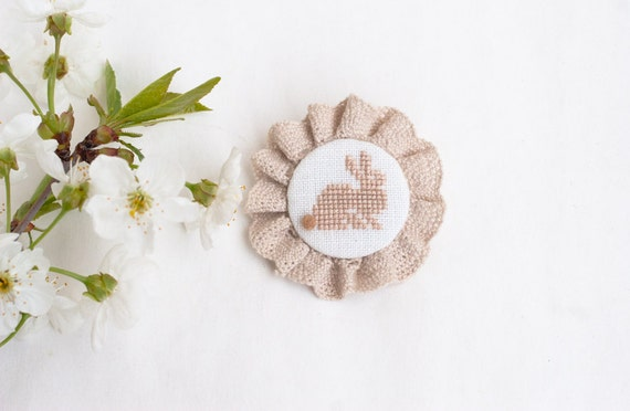 Cute bunny, embroidered brooch Easter handmade textile jewelry Rabbit woodland pin Fabric White beige