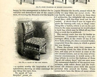 1876, Aesthetic Movement ,Furniture Design, 13 Illustrations, Vintage 10 Page Article