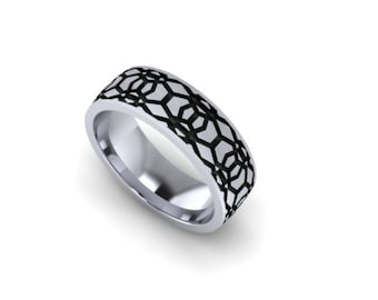 Sterling Silver 8mm Wide Honeycomb Band