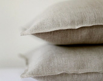 2 Natural linen pillow covers - decorative covers - throw pillows - shams  0023