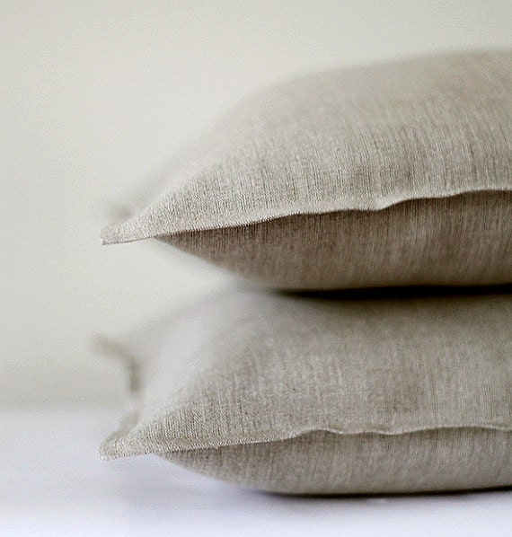 2 Natural linen pillow covers decorative covers throw