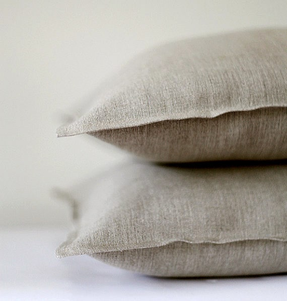 Decorative Linen Pillows : 2 Natural linen pillow covers decorative covers throw