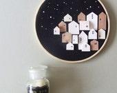 RESPITE- tiny wood houses on hoop - Neutral  neutral art print painting