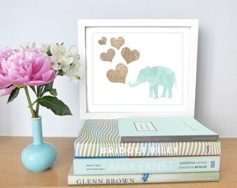 Printable - Mint Green Vintage Dictionary Art Elephant Watercolor Print Baby Nursery New Mom Gift Children Travel Dreams instant download