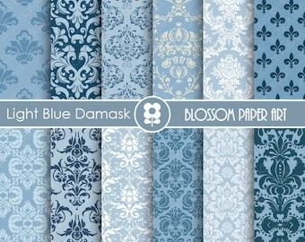 Damask Digital Paper Blue Damask Digital Paper Wedding Scrapbook Paper Pack, Scrapbooking - INSTANT DOWNLOAD  - 1755