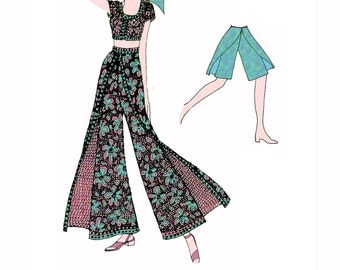 PDF File of Out-of-Print 1972 Wrap Skirt-Pant Combo Instructions Leaflet, Columnist Eunice Farmer, 1970s Colorized Drawings, Yardage, Sizing