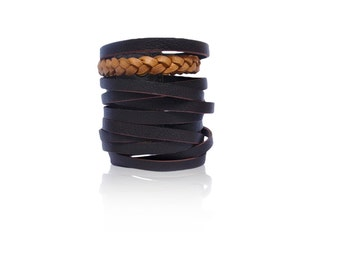 ESSENCE. Leather cuff with plait / braid / bracelet. Available in different leather colors.