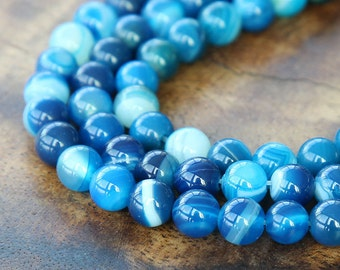 Striped Agate Beads, Blue, 8mm Round - 15 inch strand - eGR-AG58210-8