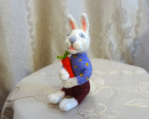 Needle Felted Hare with Carrot in the Russian National Dress - OOAK