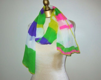 long chiffon scarf, NEON chiffon SCARF, hand rolled , 1970s accesory, extra long scarf , head wrap, abstract scarf