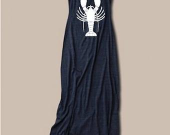 Womens LOBSTER BEACH Summer fashion Bohemian Tank Top Dress screenprint maxi beach coverup S M L XL More colors