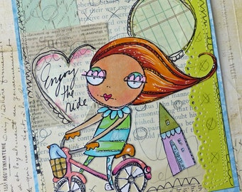 whimsical bike rider and running piglet digi stamp set!