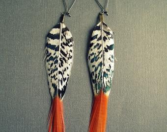 Boho Earrings - Long Feather Earrings - Black White Orange - Dangle Earrings - Long Earrings - Bohemian Earrings - Boho Jewelry