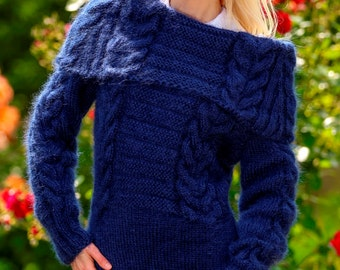 New hand knitted mohair dress in blue by SuperTanya