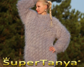 Made to order thick hand knitted mohair sweater in gray, cable knit mohair sweater in grey by SuperTanya