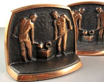 Cast Iron Copper Trim Bookends // Foundry Workers // Dated 1959 // from Successionary